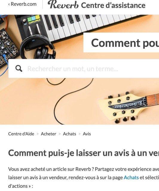 interface de l'aide sur reverb.com
